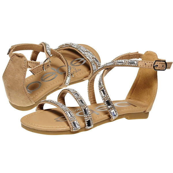 bebe Strap Sandals Embellished with Rhinestones for Girls