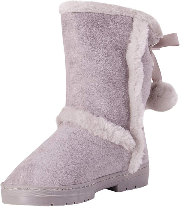bebe Girls Fur Trim Winter Boots with Back Lace Pom-Poms (Toddler/Little Girl/Big Girl)