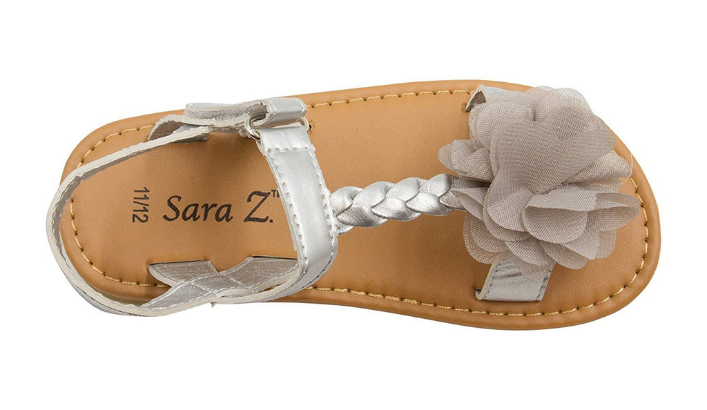 Sara Z Toddler Girl Metallic Sandal with Braided Strap and Chiffon Flower