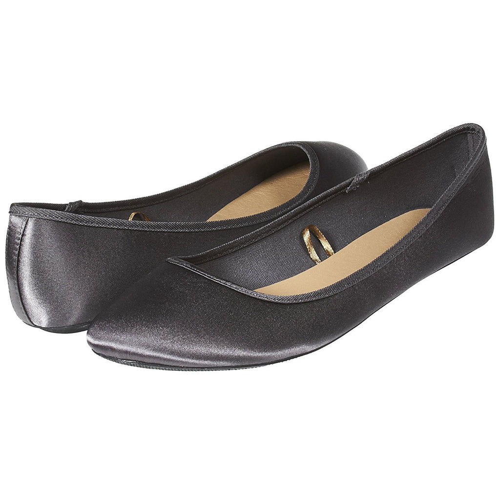 Sara Z Womens Fashion Casual Slip-On Classic Satin Ballet Flat Shoes