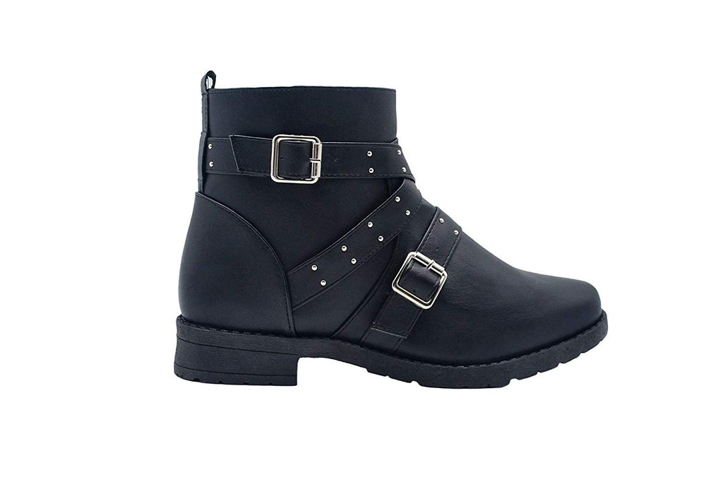 Via Rosa Women's Short Ankle Moto Boots Embellished with Studded Straps and Buckles