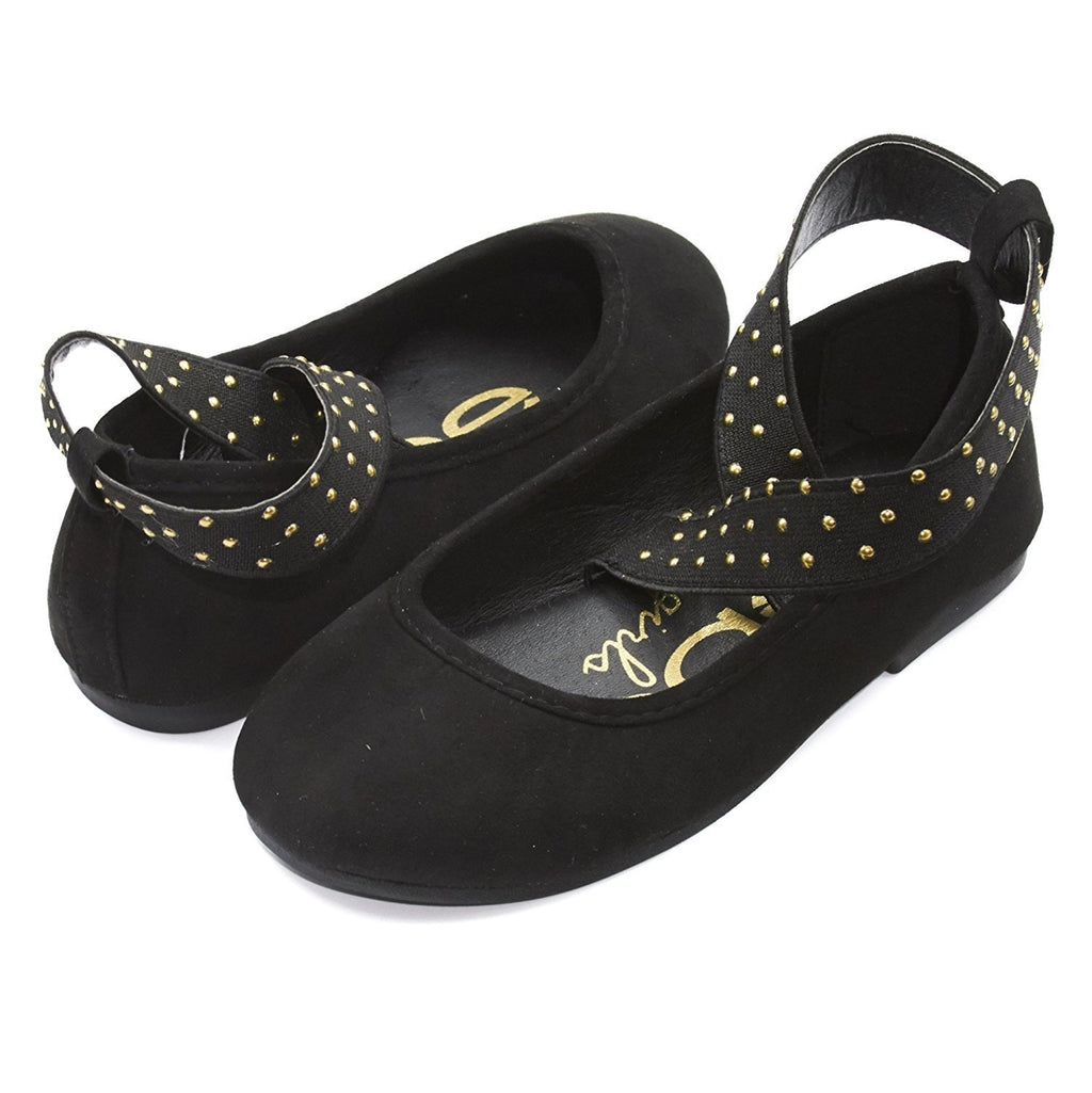 bebe Kids Girls Microsuede Ballet Flat Shoes With Studded Elastic Ankle Strap (See More Colors and Sizes)