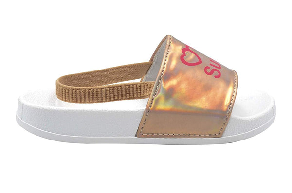 dELiAs Toddler Girls Fashion Slides Holographic Slides with Printed Mix N Match Sayings