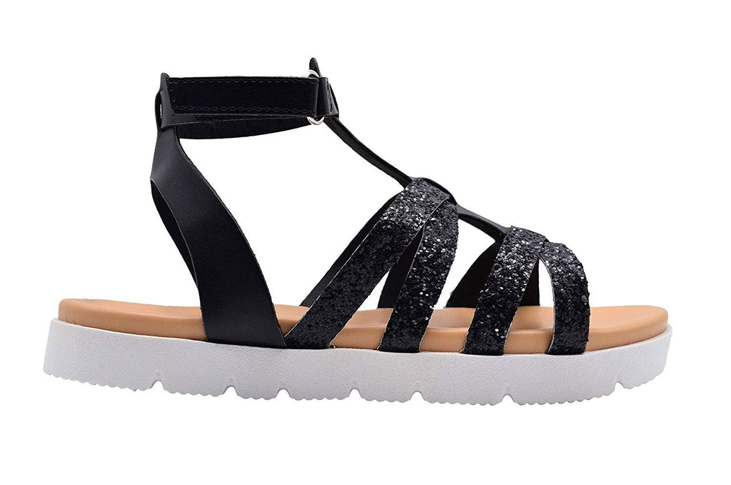 bebe Girls Fashion Sandals Gladiator Summer Flats with Glitter Upper