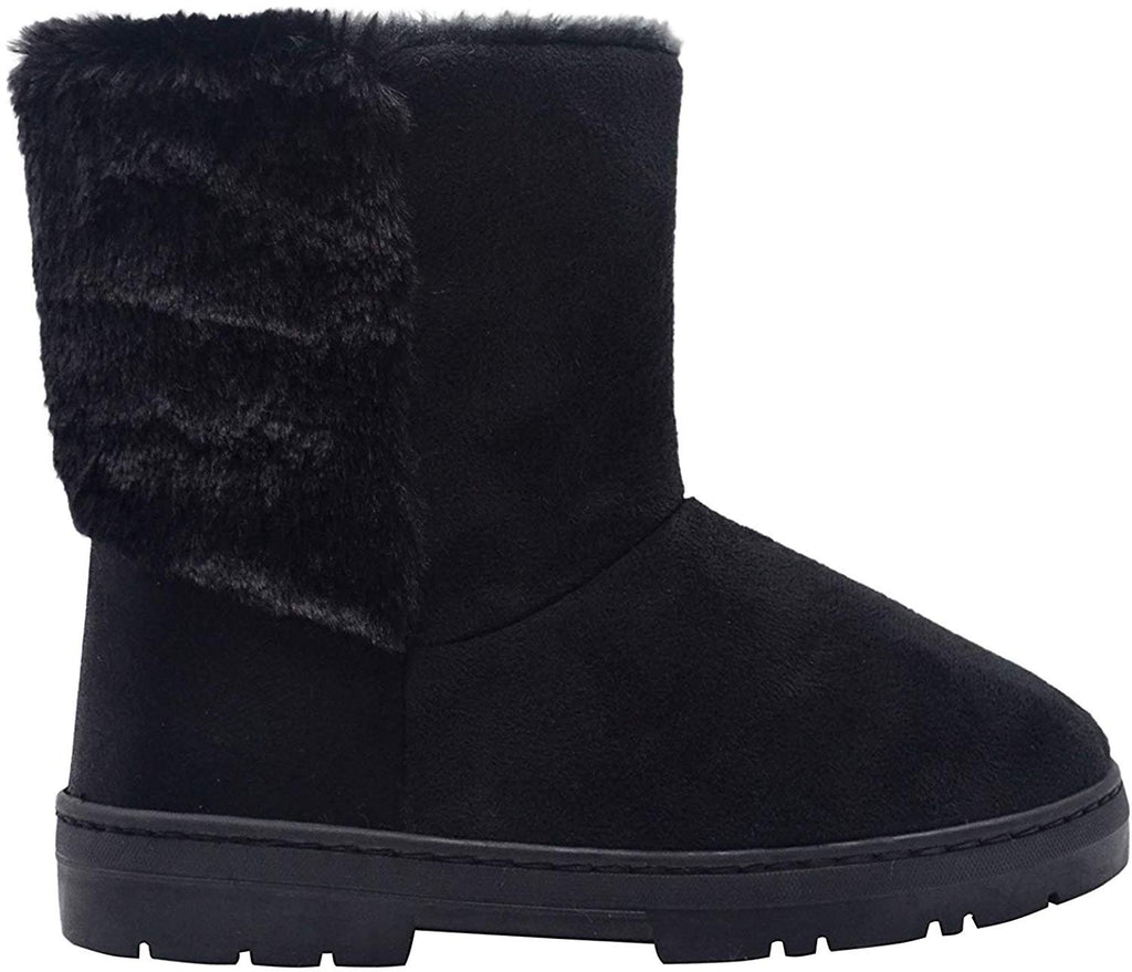 "Via Rosa Women's 7"" Mid Calf Microsuede Winter Boots with Faux Fur Back Shaft Embellishment"