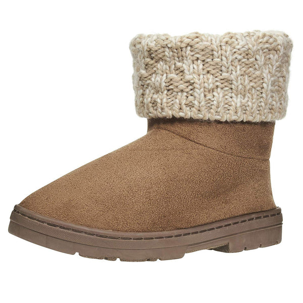 Chatties Women's Low Winter Boots with Knit Cuffs Casual Mid-Calf