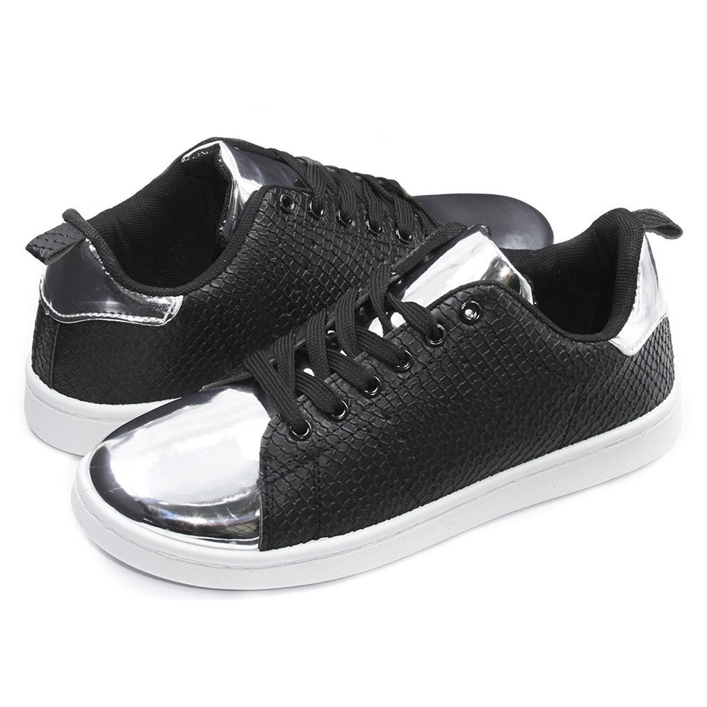 Sara Z Womens Embossed Shiny Toe Lace-Up Sneakers (See More Colors and Sizes)