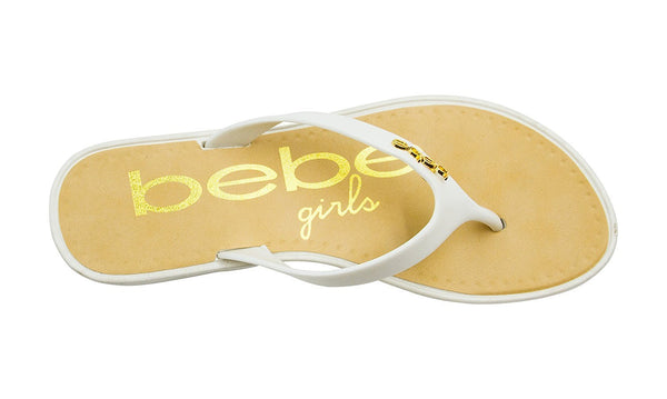 bebe Girls Vegan Wedge Sandals with Metal Plate Embellishments and Printed Footbed