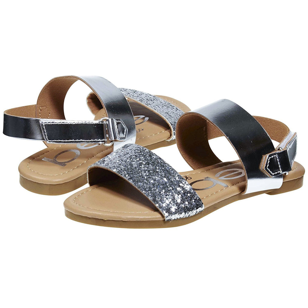 bebe Metallic Sandals with Glitter Straps for Girls