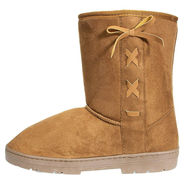 "Chatties Women's 8"" Low Winter Boots Bows Side Lace up Accent Casual Mid-Calf Shoes"