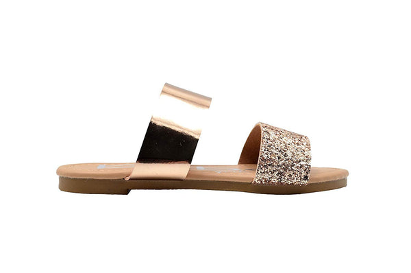 bebe Girls Fashion Sandals Double Band Summer Slip On Flats with Glitter