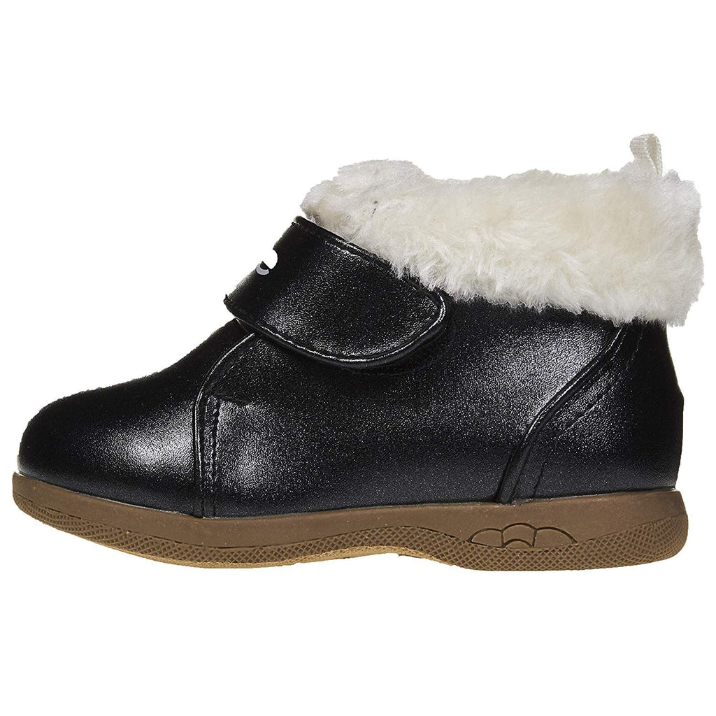 bebe Toddler Girls Ankle Boots with Straps and Fur Cuffs Slip-On Fashion PU Shoes