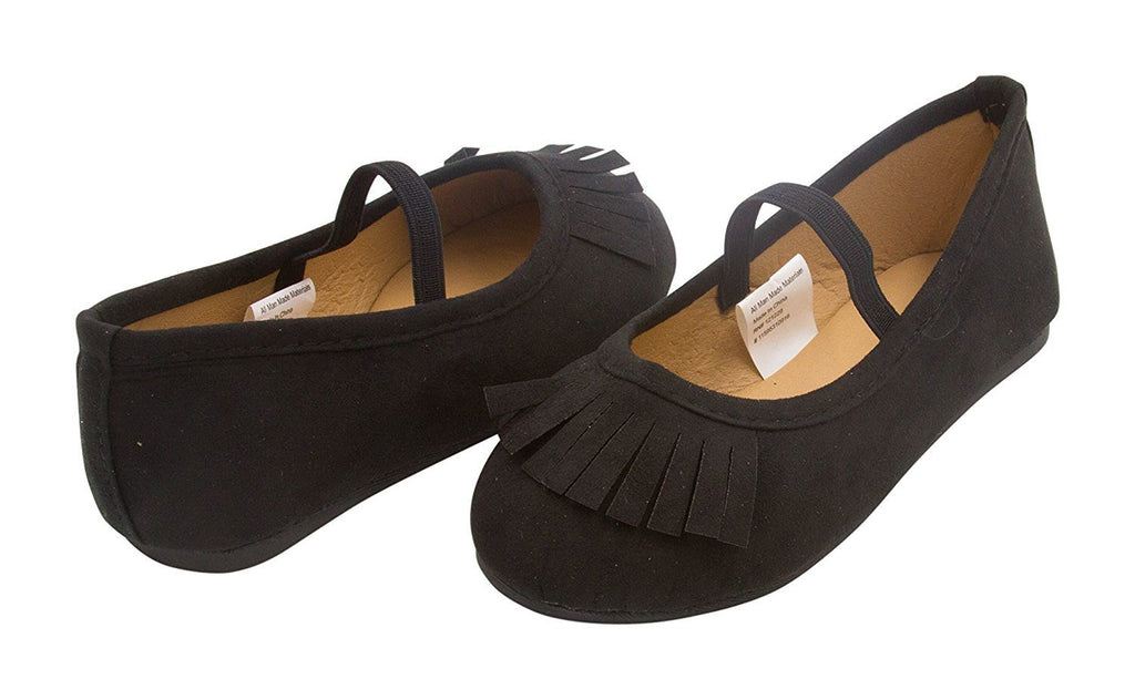Sara Z Toddler Girls Microsuede Fringe Slip On Ballet Flat With Arch Strap