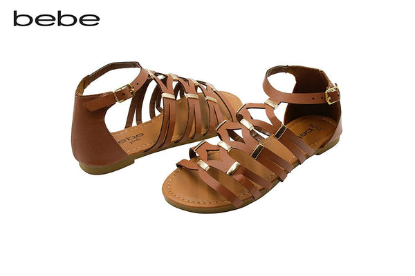 bebe Girls Gladiator Sandal with Hardware Embellishments