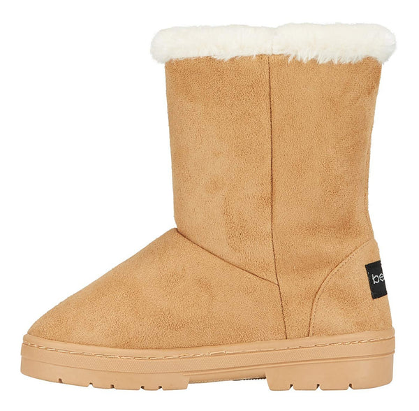 bebe Girls Microsuede Winter Boots with Faux Fur Cuffs Casual Warm Slip-On Shoes