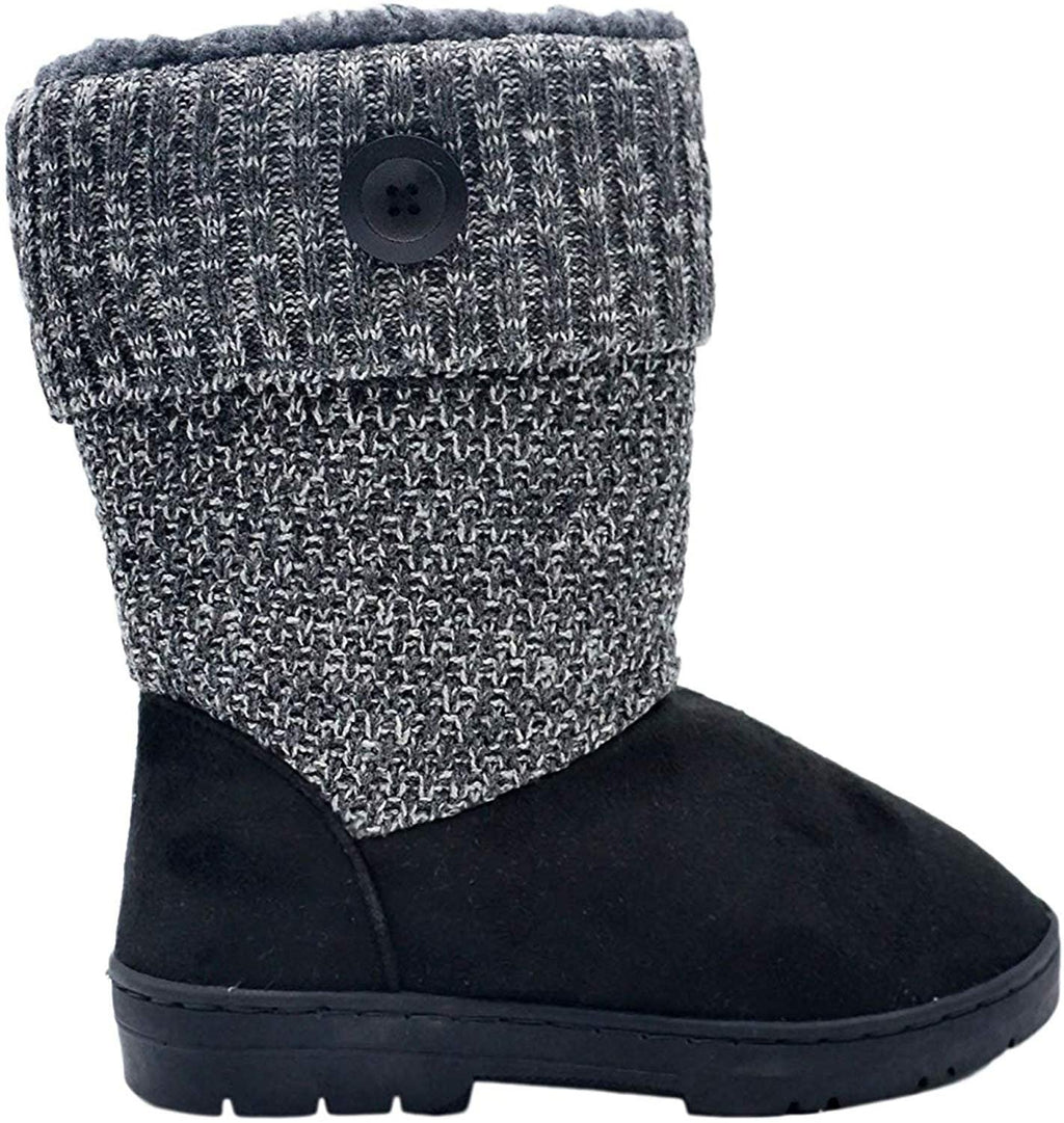 Gold Toe Womens 9.5 Inch� Mid Calf Microsuede Winter Boots with Chunky Knit Shaft