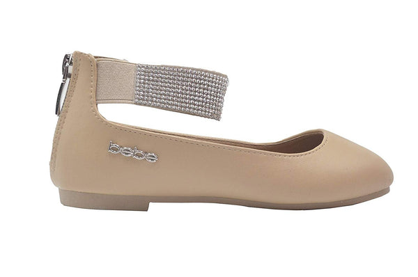 bebe Girls Ballet Flats Slip On Sandals with Rhienstone Ankle Strap