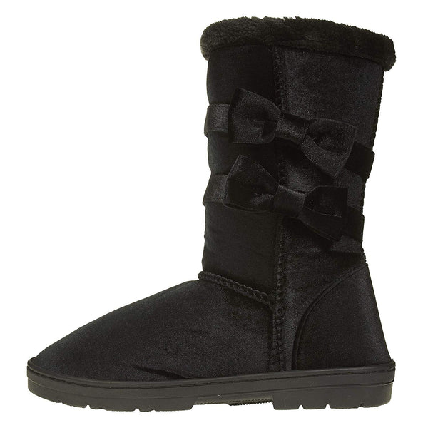 "Chatties Women's 10"" Velvet Winter Boots with Fur Trimming and Bow Accents Casual Mid-Calf"