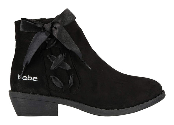 bebe Girls Ankle Boots with Lace up Satin Bow Side Zipper Casual Fashion Shoes