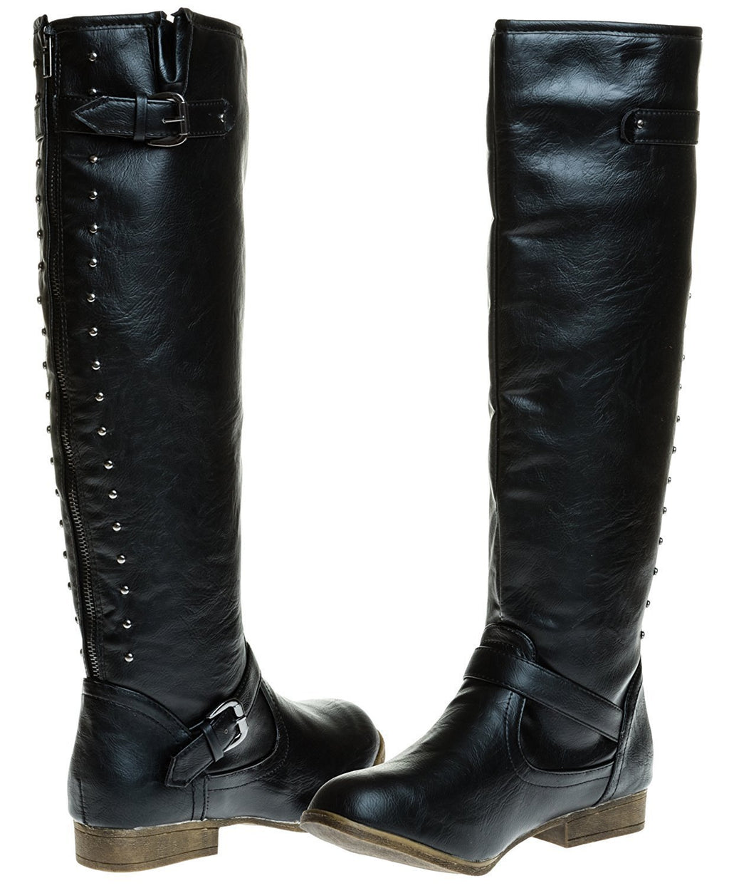 Sara Z Ladies Riding Boot with Back Studs (Black), Size 8