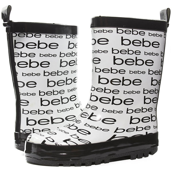 bebe Girls Printed High Cut Puddle Proof Slip On Rain Boots, Black, Size 13/14