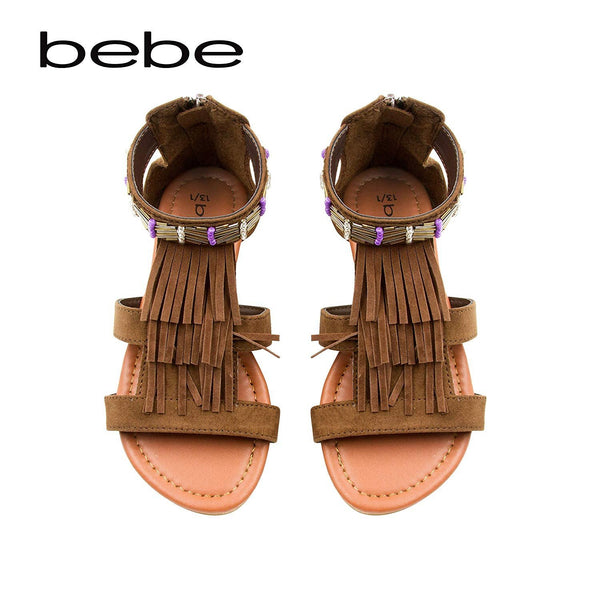 bebe Girls Microsuede Gladiator Sandal with Fringe and Beading