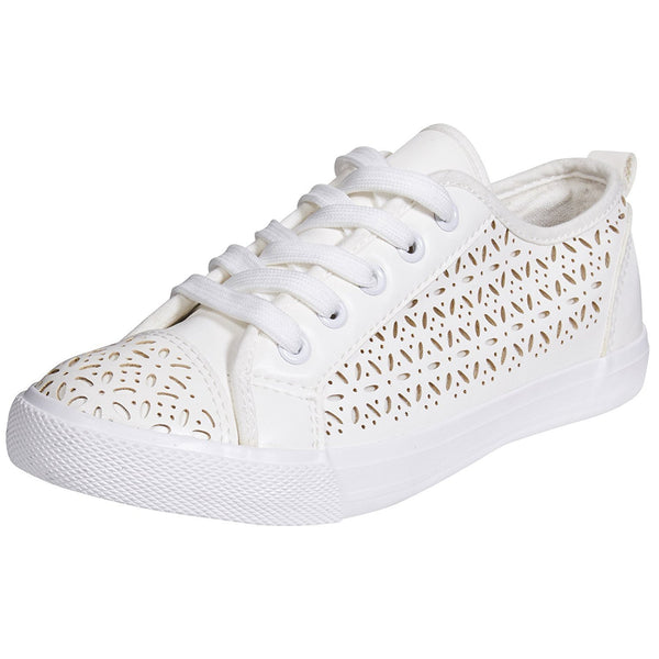 Chatties By Sara Z Womens Perforated Fashion Sneakers Tie Up Slip On With Laces For Ladies