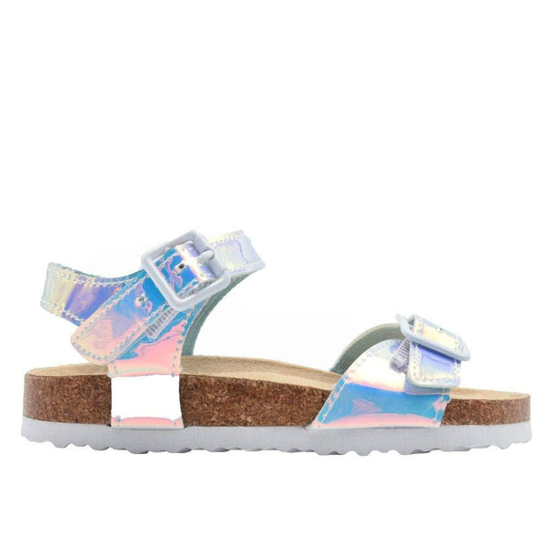 dELiAs Girls Footbed Sandal Metallic Holographic Slip On Slide Shoe with Buckle Embellishment