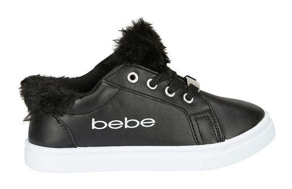 bebe Girls Low Top Athletic Sneakers Faux Fur Tongue Comfort Sports Shoes