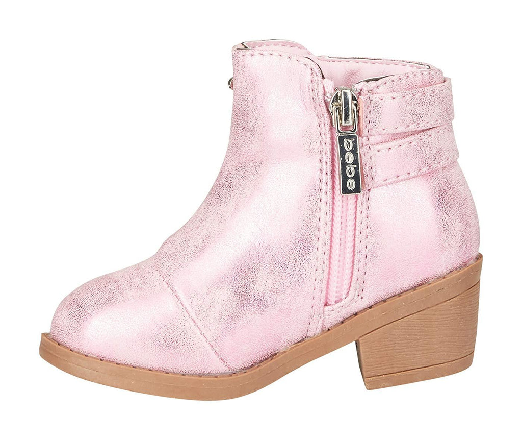 bebe Toddler Girls Metallic Boots with Buckle Straps Slip-On Mid-Heel Fashion PU Shoes