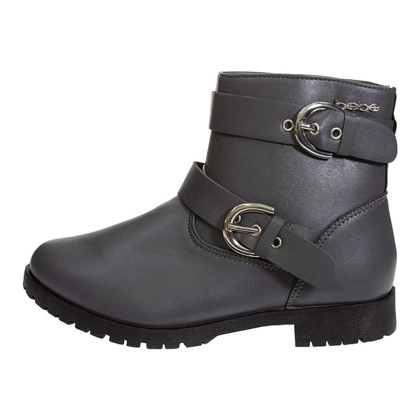 bebe Girls PU Short Boots with Buckle Straps Side Zipper Casual Fashion Shoes