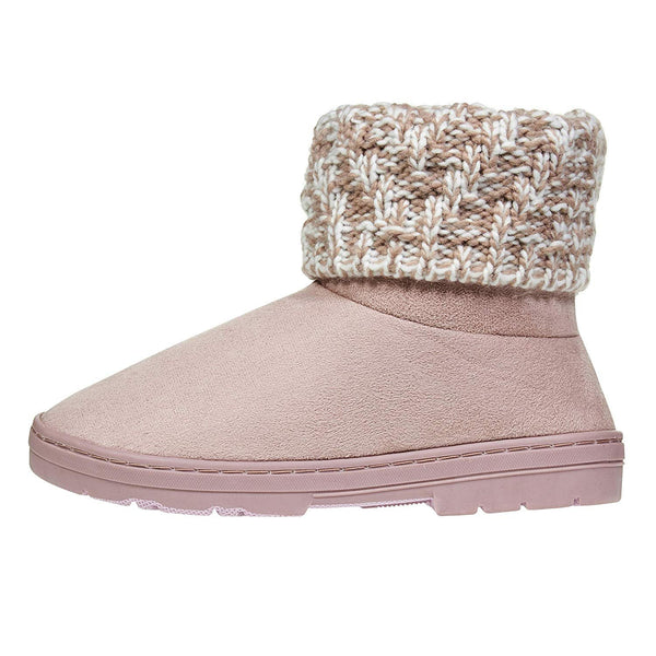 Chatties Women's Low Winter Boots Knit Cuffs Casual Mid-Calf