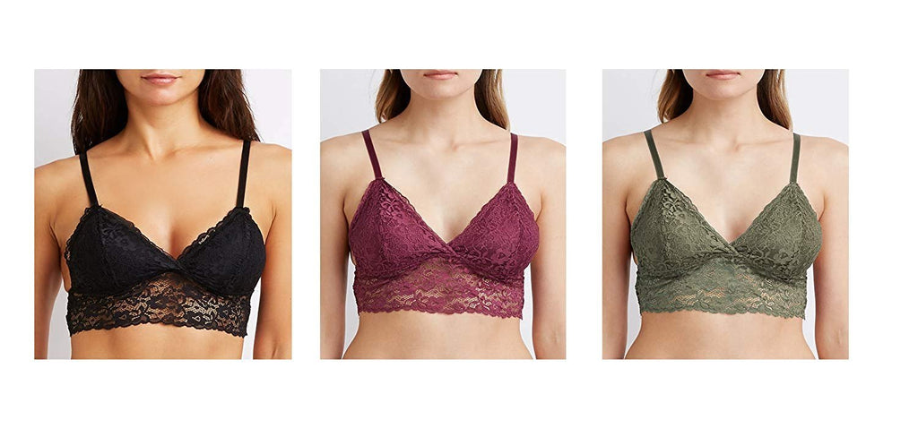 Body Frosting Women's Longline Lace Bralette Strappy Bra with Removable Pads (3 Pack)