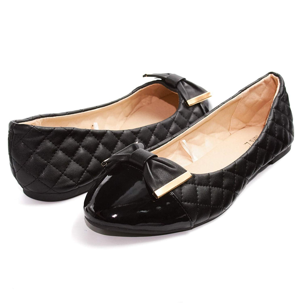 Sara Z Womens Quilted Ballet Flat Slip On Shoes With Bow and Patent Leather Toe (See More Colors and Sizes)