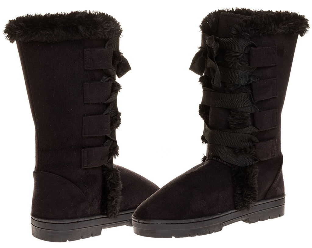 Sara Z Ladies Microsuede 10 inch Winter Boots Grosgrain Lace up