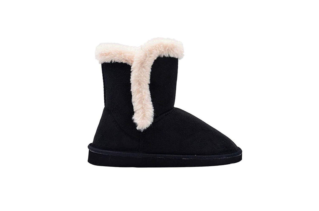 Gold Toe Womens 7 Inch� Short Mid Calf Microsuede Winter Boots with Faux Fur Trim