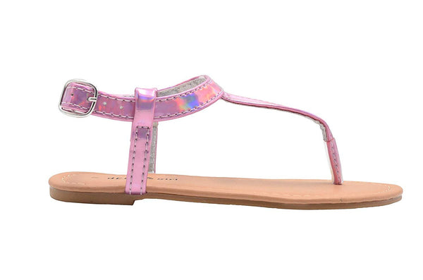dELiAs Girls Fashion Sandals Holographic Slingback T Strap Flats