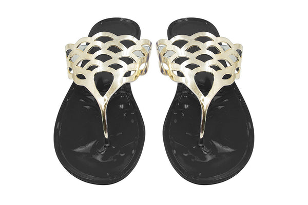 Sara Z Ladies Jelly Thong Sandal with Metallic Cutout Upper