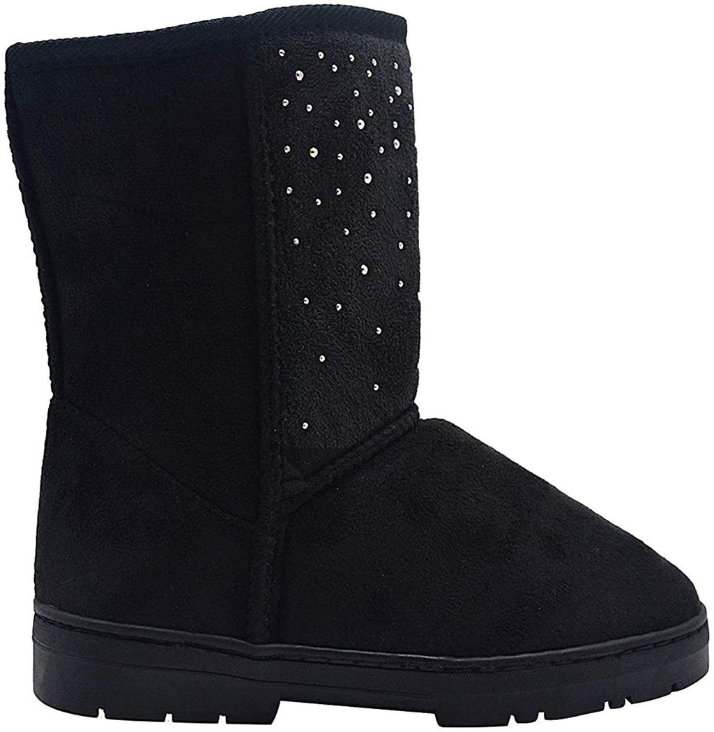 Via Rosa Womens 8 Inch� Mid Calf Microsuede Winter Boots Embellished with Sparkly Rhinestones