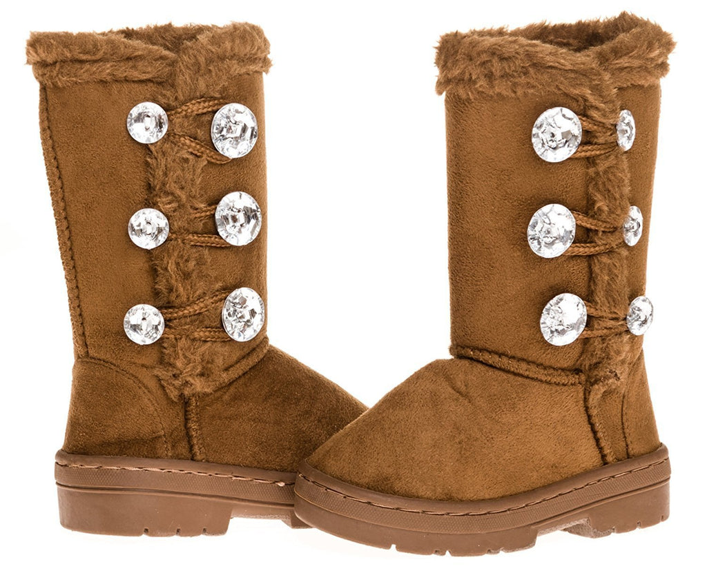 "Sara Z Toddler Girls 5"" Lug Sole Winter Boot with Rhinestones (Cognac), Size 7-8"