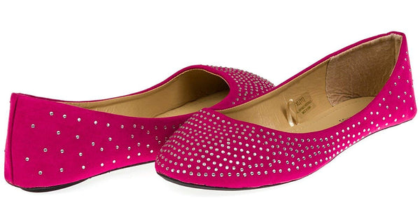 Chatties Ladies Microsuede Ballet Flats with Rhinestones (See More Colors/Sizes)