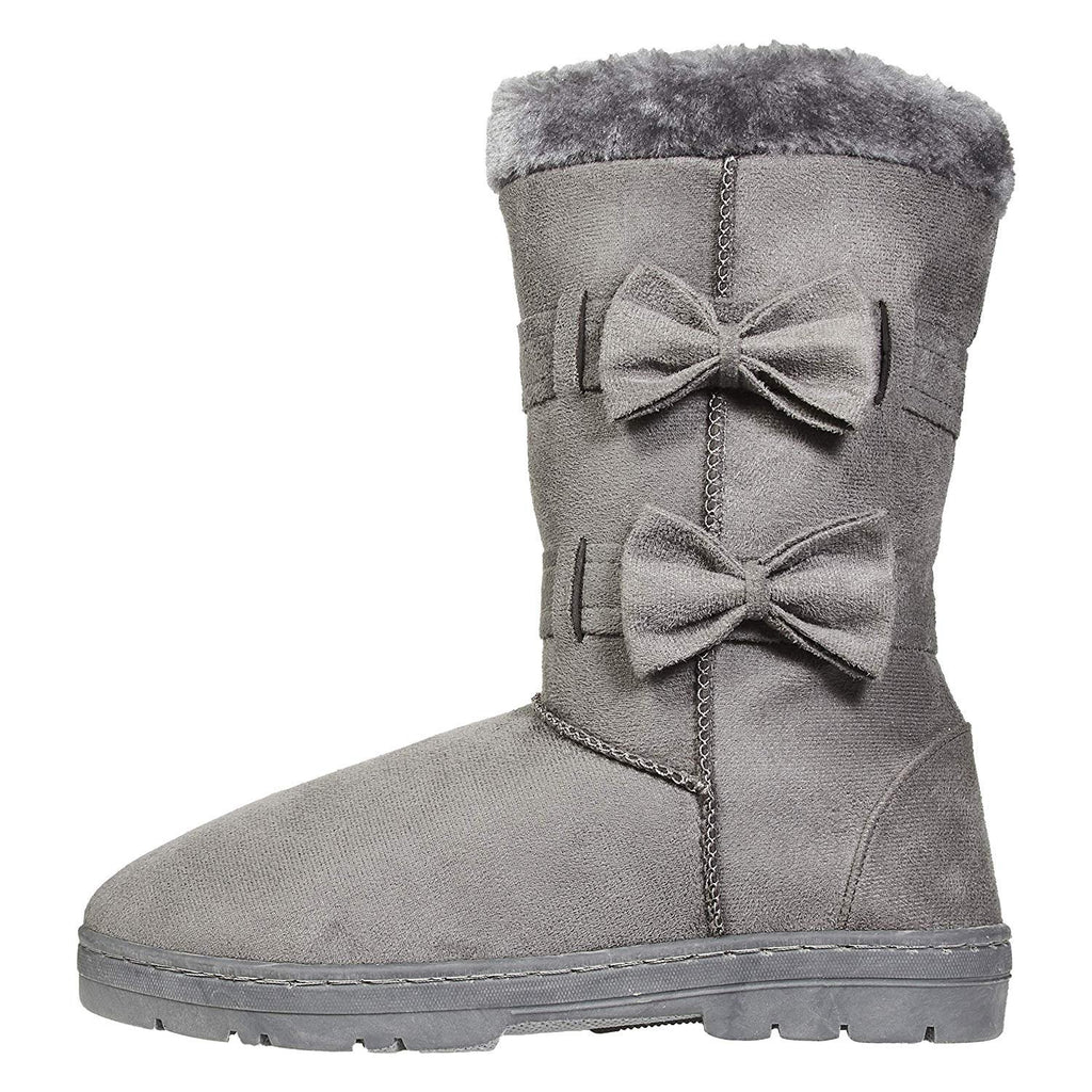 Chatties Women's Winter Boots Fur Trims Bows Casual Mid-Calf Shoes