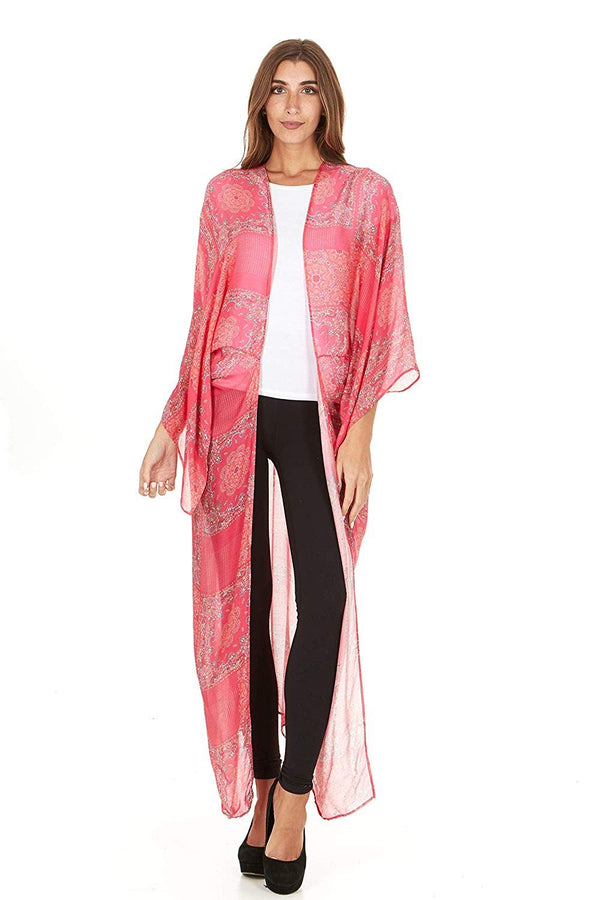 Laundry by Shelli Segal Women Sheer Loose Kimono Cardigan Cape Cover Up Blouse