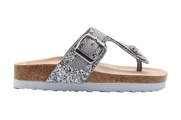 bebe Girls' Glitter Footbed Sandal Little Kid Big Kid Slip On Slide Shoe with Metallic Buckle