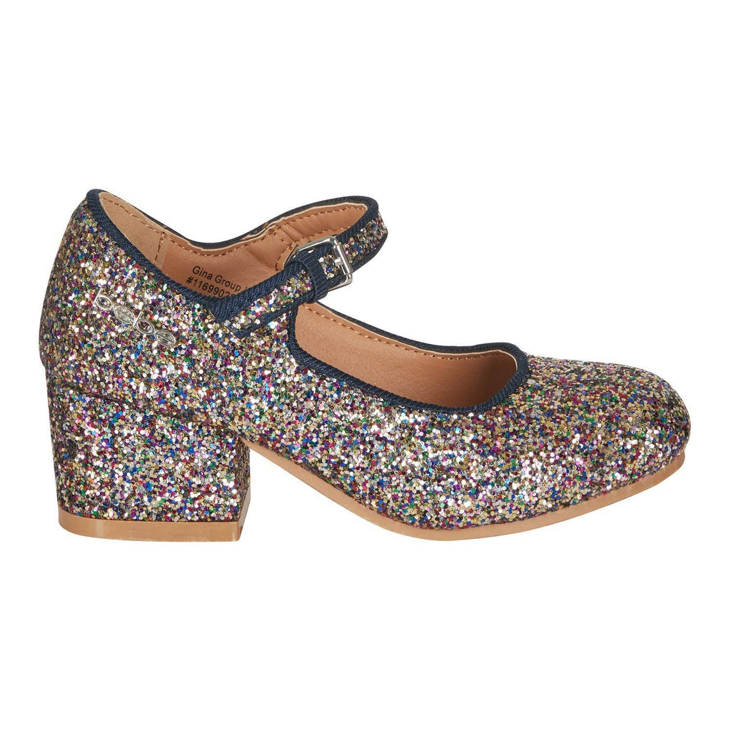 bebe Girls Mary Jane Shoes Glitter Upper Buckle Strap Slip-On Dress Mid-Heel