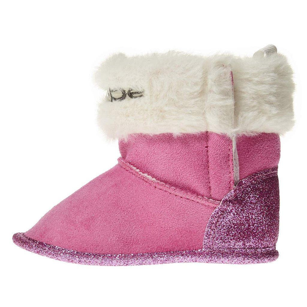 bebe Infant Girls Winter Prewalker Crib Shoe Booties with Glitter and Faux Fur Cuffs Slip-On