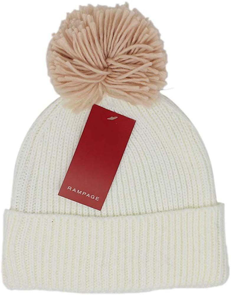 Rampage Women's Slouchy Cuffed Thick Knit Beanie Cap With Oversized Pom Pom - Fall Winter Accessories