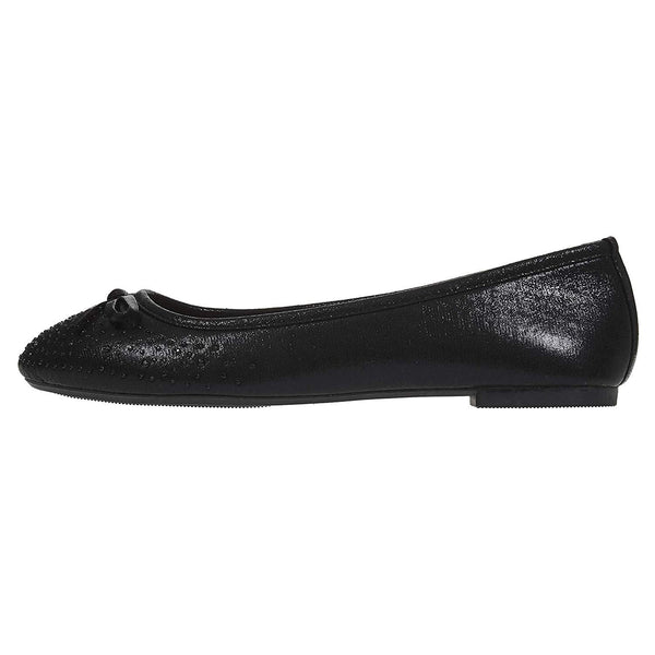 Chatties Women's Ballet Flats Perforated with Rhinestones Slip-On Shoes Microsuede