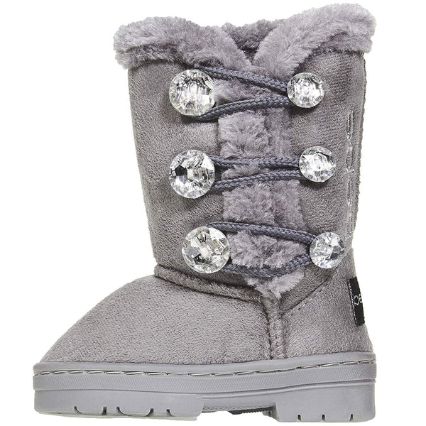 bebe Toddler Girls Winter Boots Rhinestones Buttons Slip-On Mid-Calf Fashion Shoes