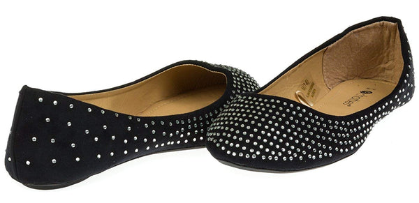Chatties Ladies Microsuede Ballet Flats Rhinestones (See More Colors/Sizes)